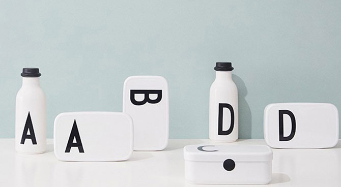 Arne Jacobsen Design Letters lunch boxes