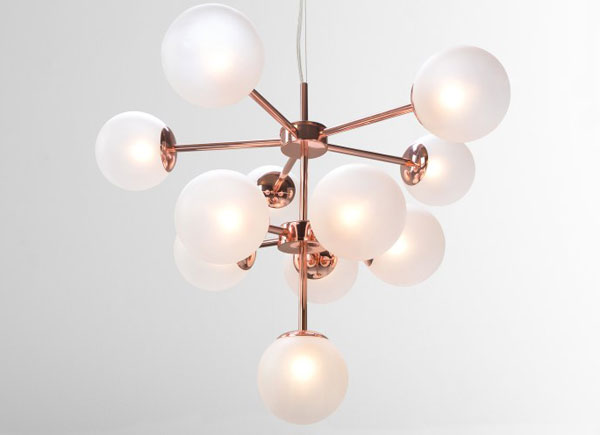 Globe retro chandelier at Made