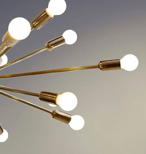 Retro-style brass sputnik light fittings at Inscapes Design