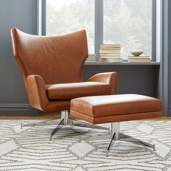 1960s-style Hemming leather swivel armchair at West Elm