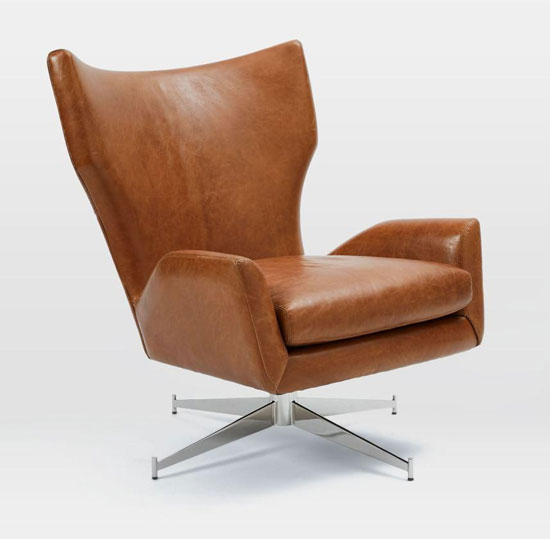 1960s Style Hemming Leather Swivel Armchair At West Elm