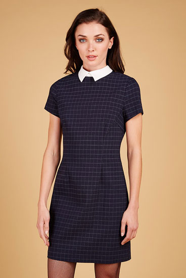1960s-style Louche Dynie contrast collar shift dress