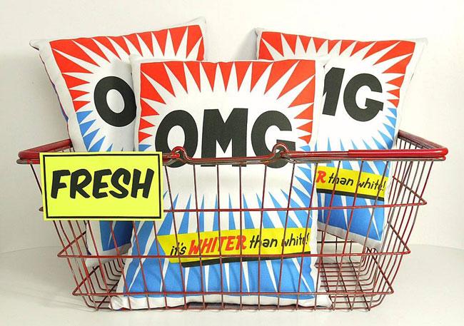 Retro washing powder cushions by You Make Me Design