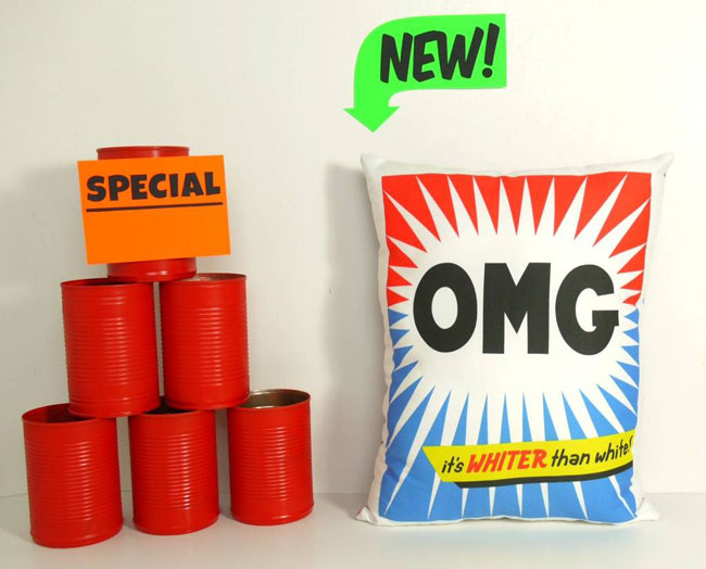 Retro washing powder cushions by You Make Me Design