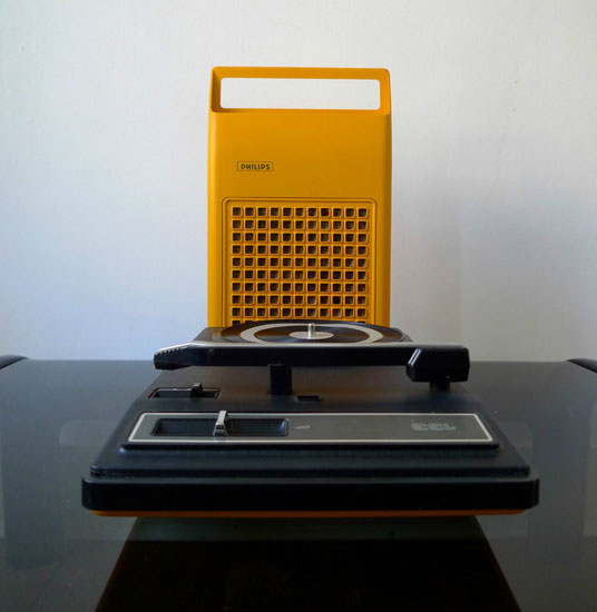 1970s Philips 133 portable space age record player on eBay