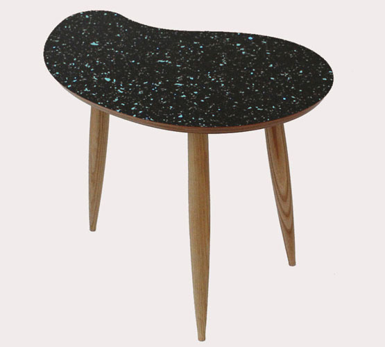 1950s-style sparkled top comma table by Curvalinea