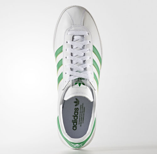 1970s Adidas Munchen trainers reissued in white and green leather