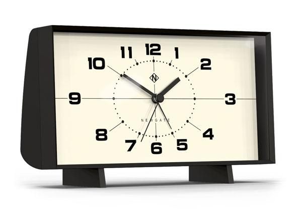 Midcentury modern-style Wideboy mantel clock by Newgate
