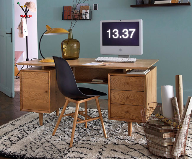 Quilda midcentury-style oak desk at La Redoute