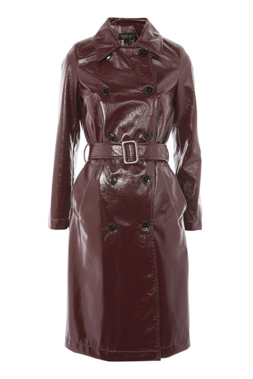 Retro vinyl trench coat at Topshop