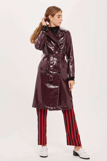 Retro vinyl trench coat at Topshop