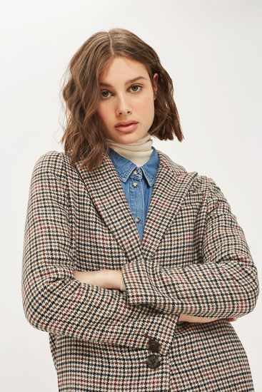 Vintage-style Bonded Heritage Check Coat at Topshop