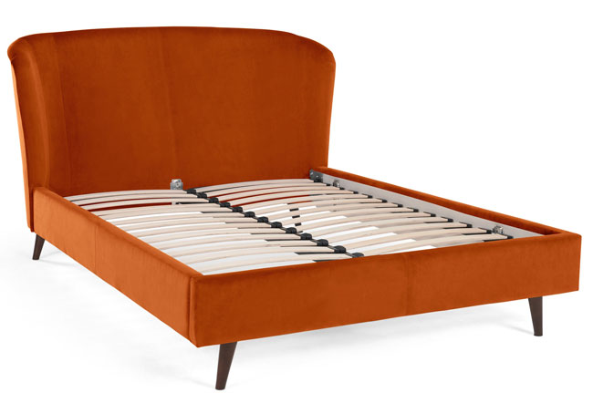Retro bedroom: Lulu bed at Made now available in an orange velvet finish