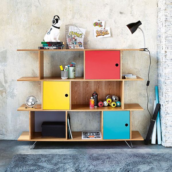Happy retro-style bookcase at Maisons Du Monde