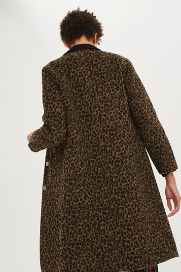 Retro-style Leopard Print Coat at Topshop