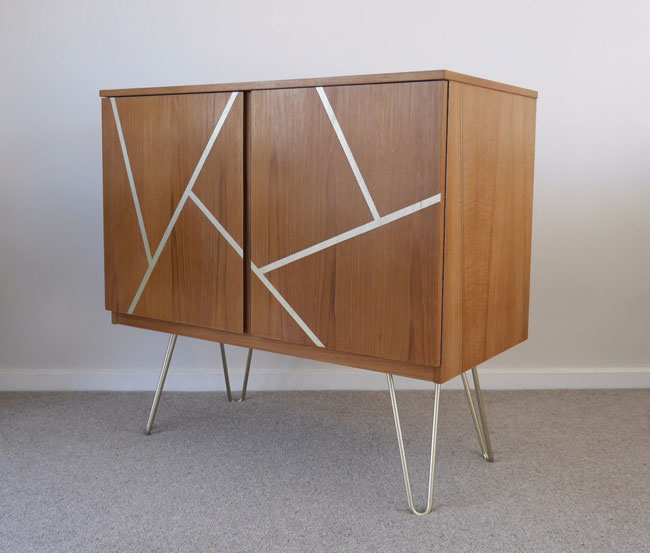 Upcycled midcentury record storage cabinet on eBay