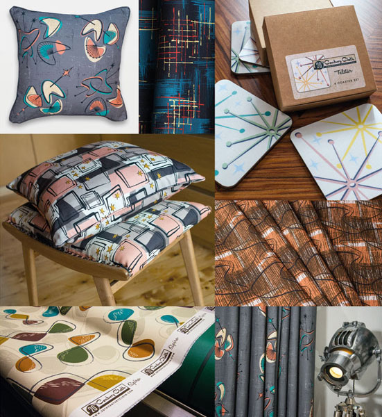 Midcentury-style cloth, cushions and coasters by 20th Century Cloth