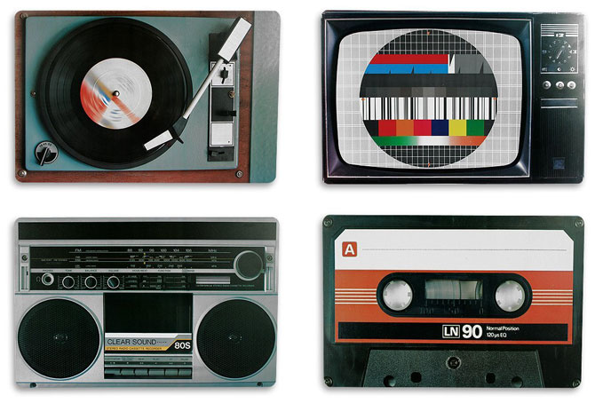 Retro technology placemats by Out of the Blue