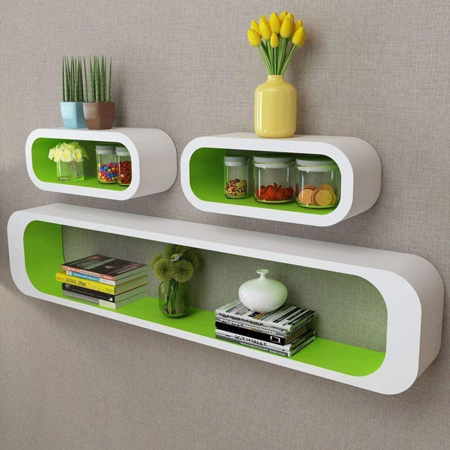 1970s space-age floating shelves by Delex