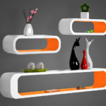 1970s space age-style floating shelves by Delex