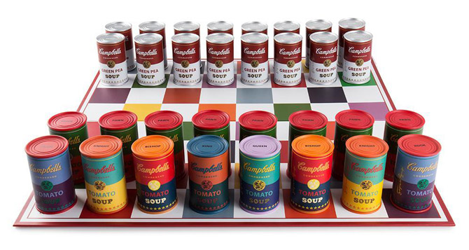 Andy Warhol Campbell's Soup Can Chess Set by Kidrobot