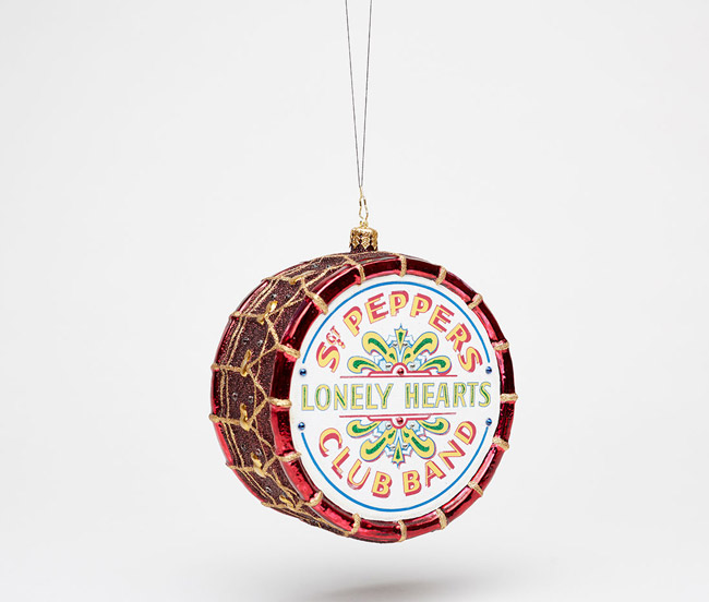 13. The Beatles Sgt. Pepper's Drum Christmas Glass Ornament