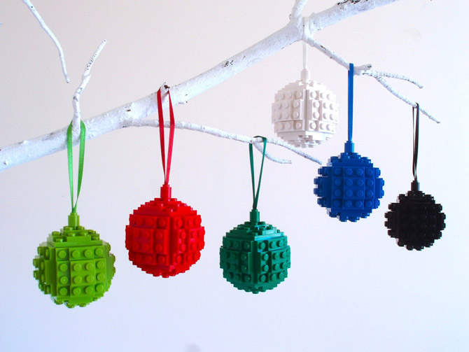 15. Lego baubles by Bits and Badges