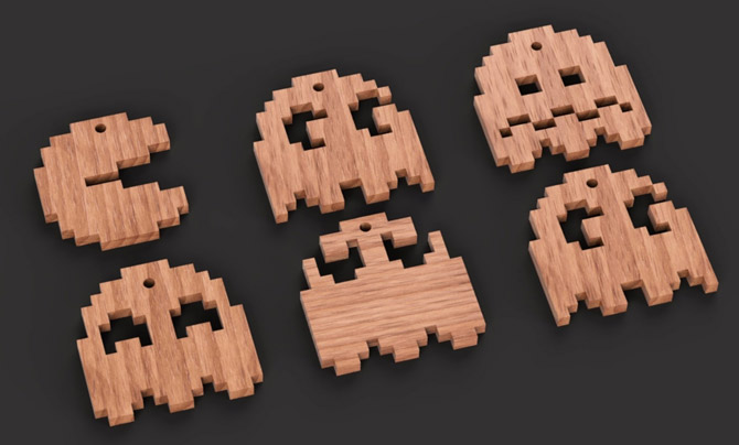 24. PacMan wooden Christmas Tree decorations