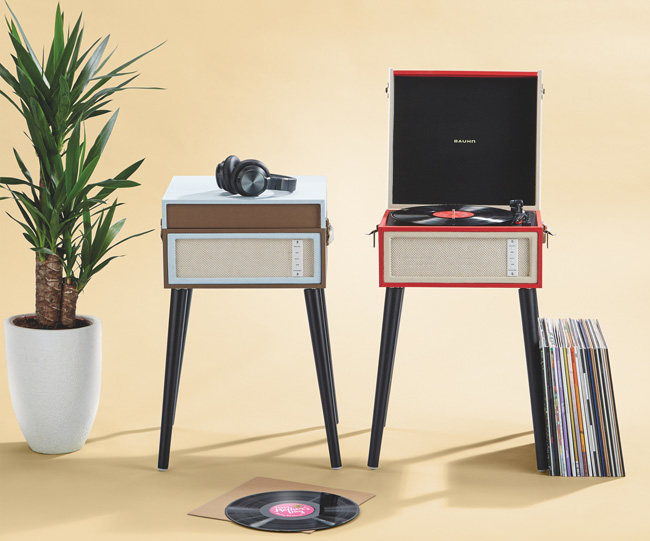 Bauhn Dansette-style record player with legs at Aldi