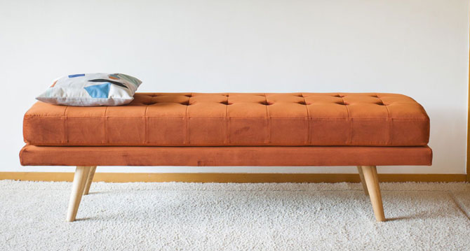 1960s-style Elmas velvet bench at Pib