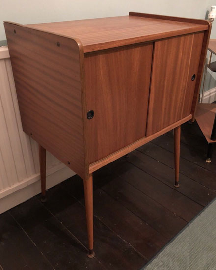 Midcentury record storage cabinet with Dansette legs on eBay