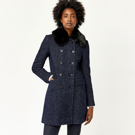 Sale spotting: 1960s-style Swing Faux Fur Collar Coat at Warehouse