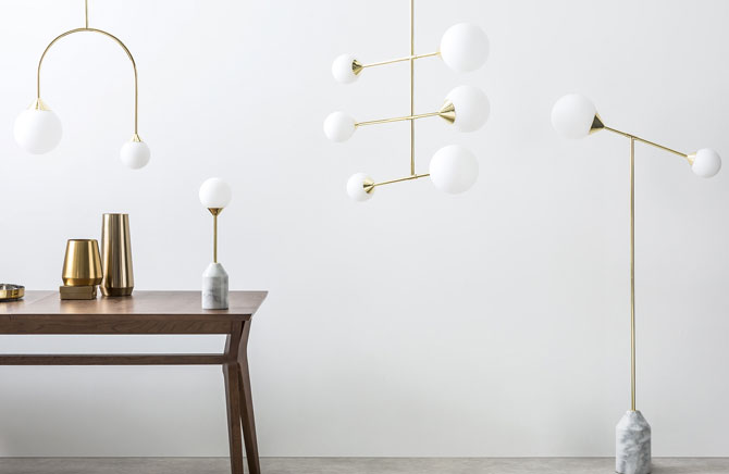 Faye midcentury-style chandelier in brass at Made