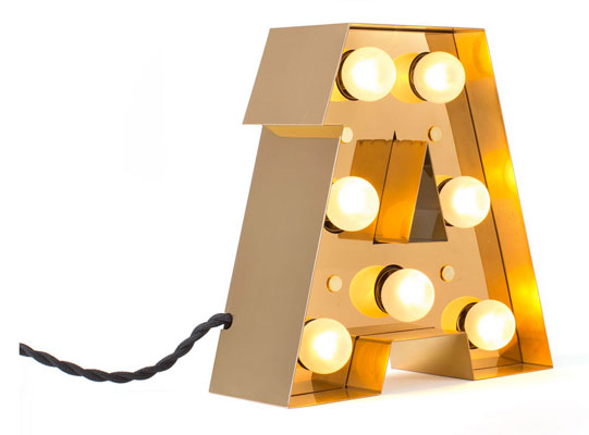 Vintage-style Caractere alphabet wall lights by Seletti