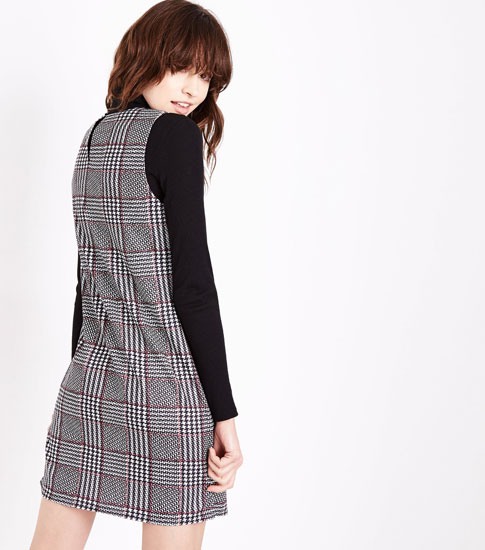 1960s-style Black Check Pocket Front Pinafore Dress at New Look