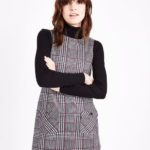 1960s-style Black Check Pocket Front Pinafore Dress at New Look