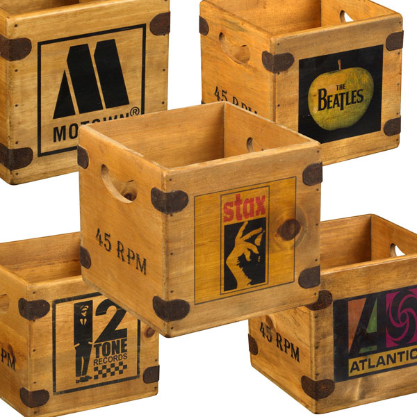 2. Vintage-style wooden record crates on eBay