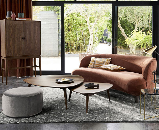 Theoleine solid walnut coffee table at La Redoute