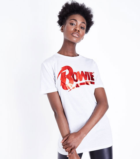 1970s-style metallic Bowie t-shirt at New Look
