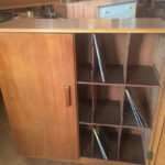 1950s oak record storage cabinet on eBay
