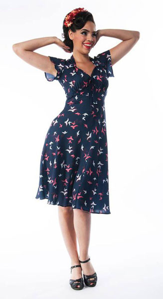 1940s-style Navy Bird Print Tea Dress at Weekend Doll