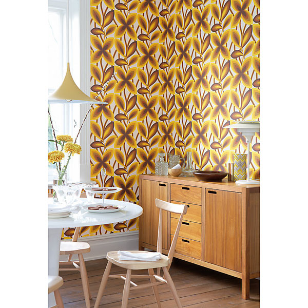 1960s Starflower wallpaper reissued in three shades