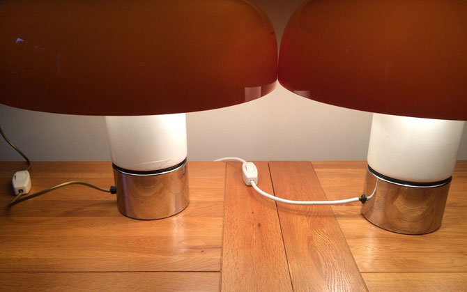 Pair of 1970s Guzzini Brumbury table lamps on eBay