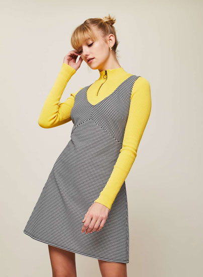 Retro dogtooth checked pinafore dress at Miss Selfridge