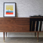 Midcentury sideboard with record storage by Stor New York