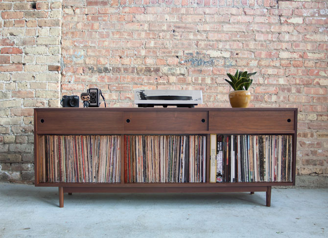 7. Handmade midcentury record storage by Department Chicago