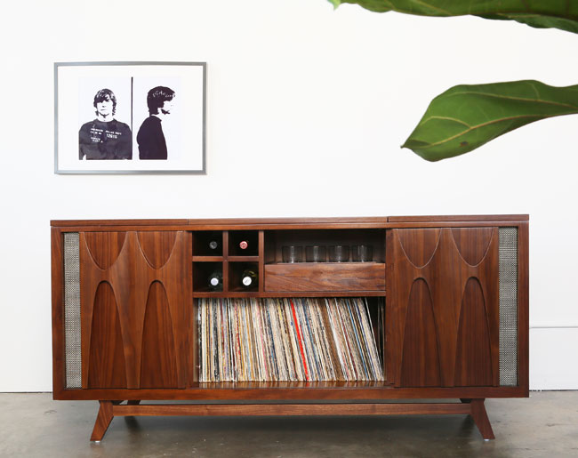 8. Luno midcentury-style audio system with built-in drinks cabinet
