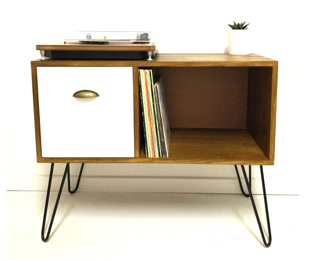 9. Vinyl storage unit with hairpin legs by Vintage House Coruna