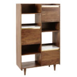 Cappuccino wood and marble midcentury furniture at Maisons Du Monde