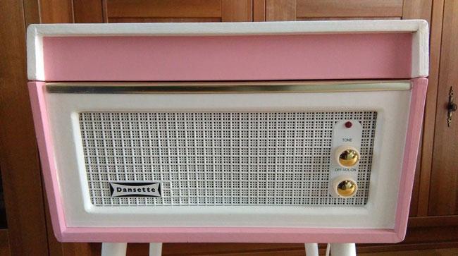 Restored 1960s Dansette Bermuda Record Player in pink on eBay